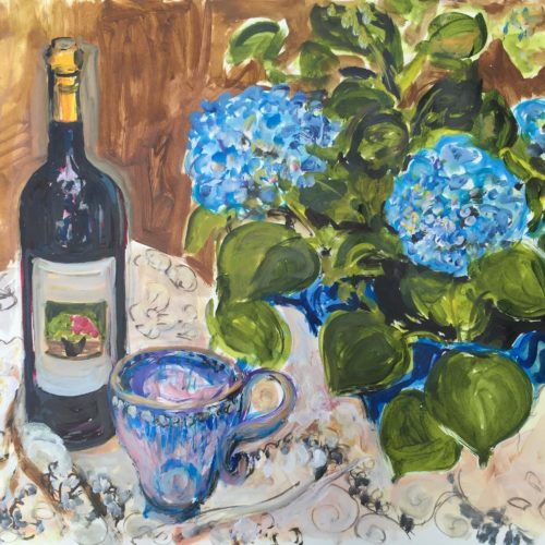 Still Life with Our Wine, Mug and Blue Hydrangeas